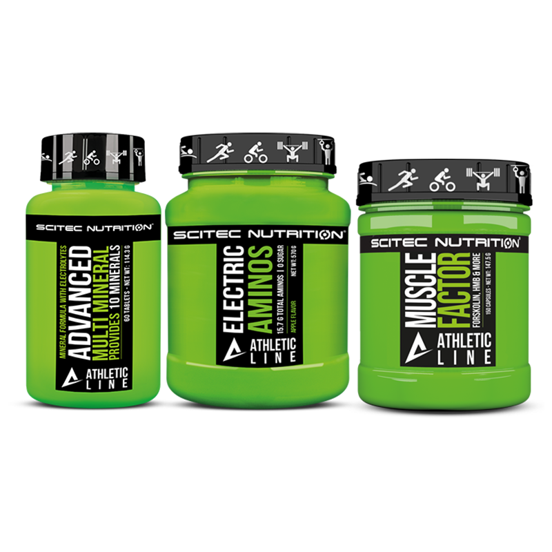Scitec Nutrition Muscle Factor + Electric Aminos + Advanced Multi Mineral szett