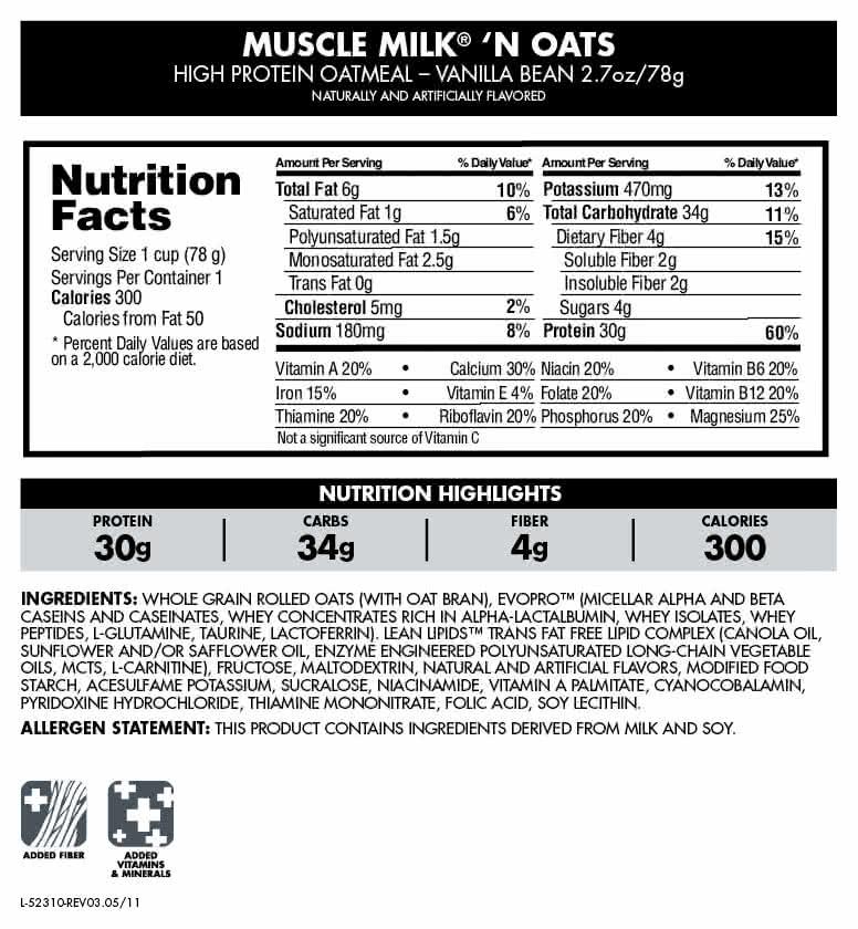 CytoSport Muscle Milk`n Oats 6x78 g