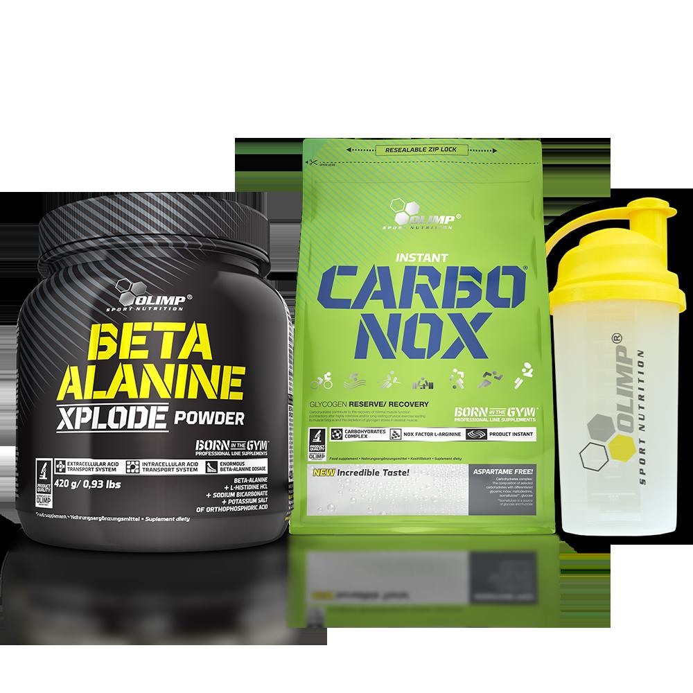 Olimp Sport Nutrition Beta Alanine Xplode + Carbo-NOX + Shaker szett