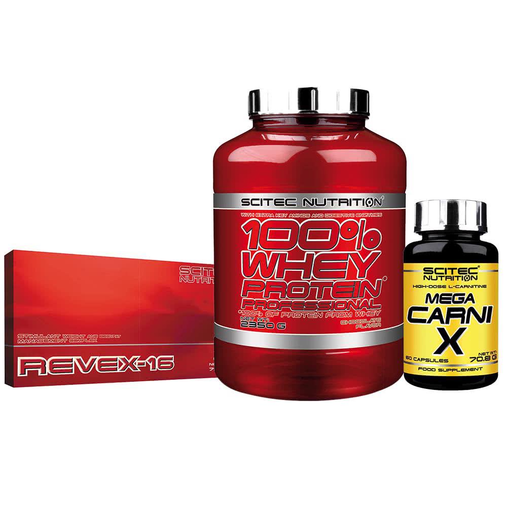 Scitec Nutrition 100% Whey Protein Professional + Revex-16 + Carni-X szett