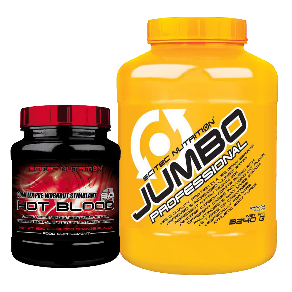 Scitec Nutrition Jumbo Professional + Hot Blood 3.0 3,24 kg