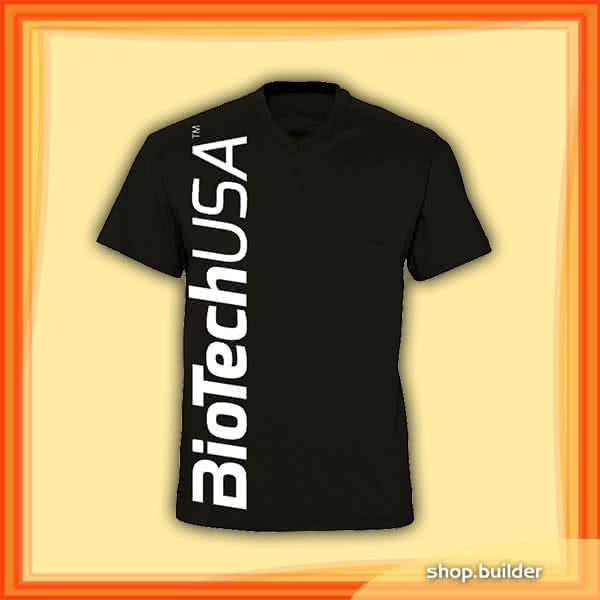 BioTech USA V-nyakú slim-fit fekete férfi póló