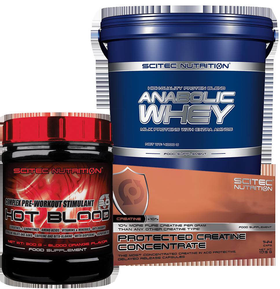 Scitec Nutrition Anabolic Whey+Hot Blood+Protected Creatine szett