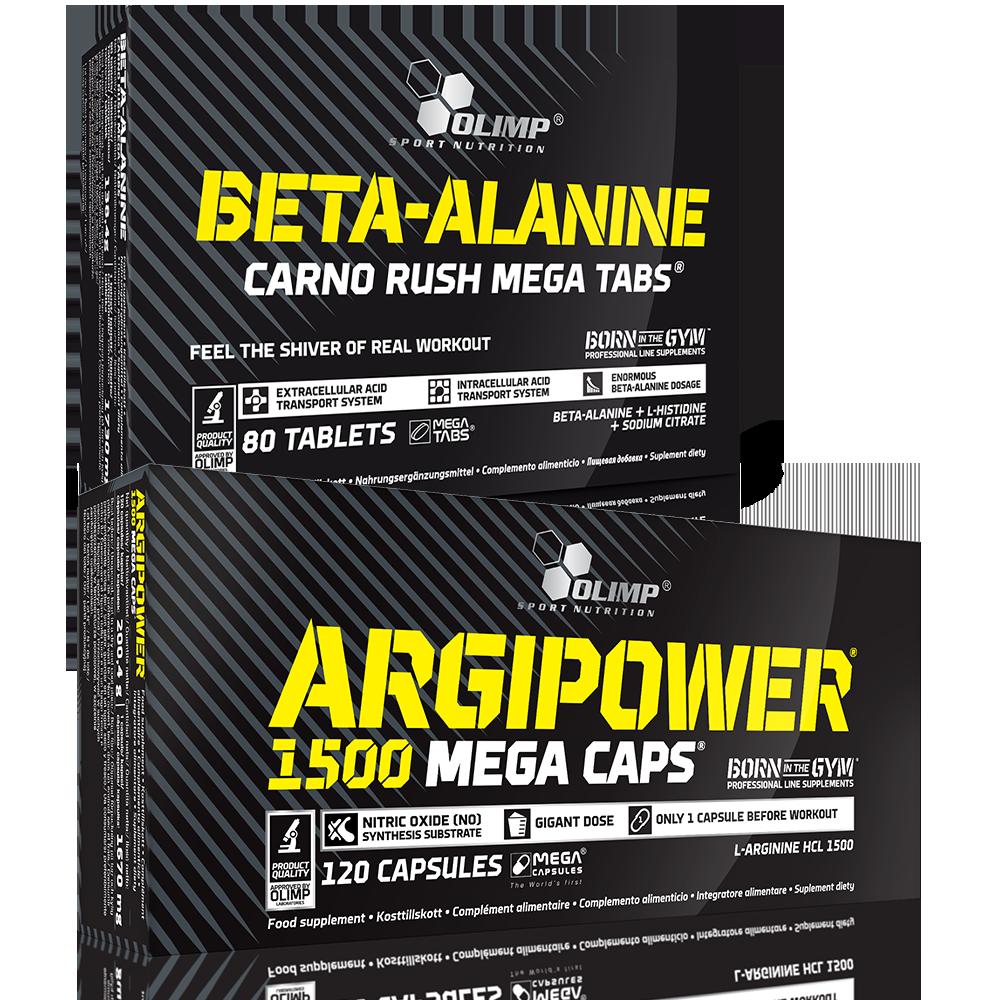 Olimp Sport Nutrition Argipower 1500 Mega Caps + Beta Alanine Carno Rush szett