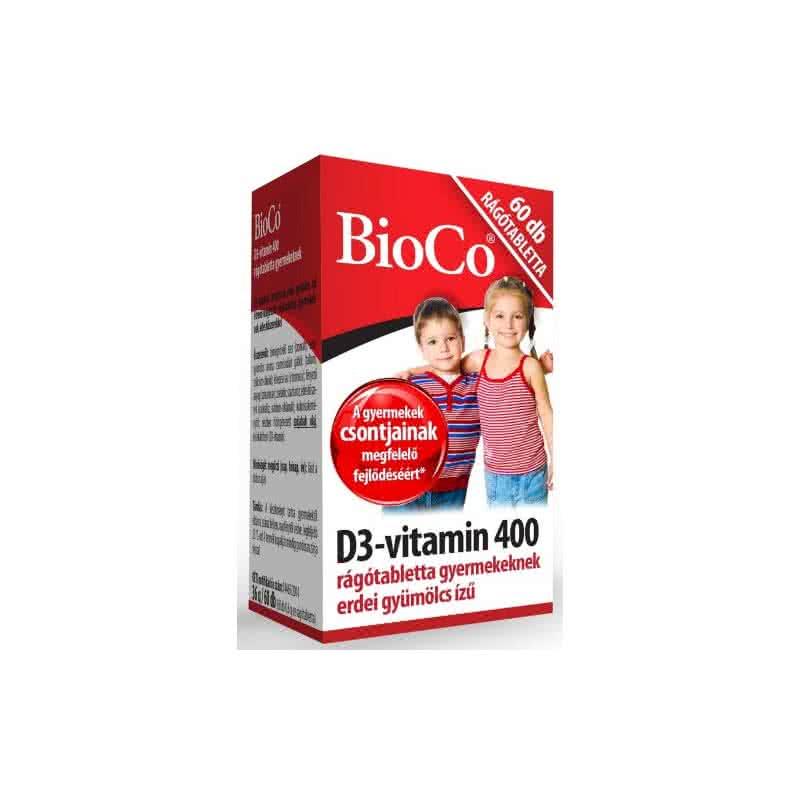 BioCo D3-vitamin 400 rágótabletta gyerekeknek 60 r.t.