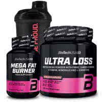 BioTech USA Ultra Loss + Mega Fat Burner + For Her Wave+ Nano Shaker (szett)