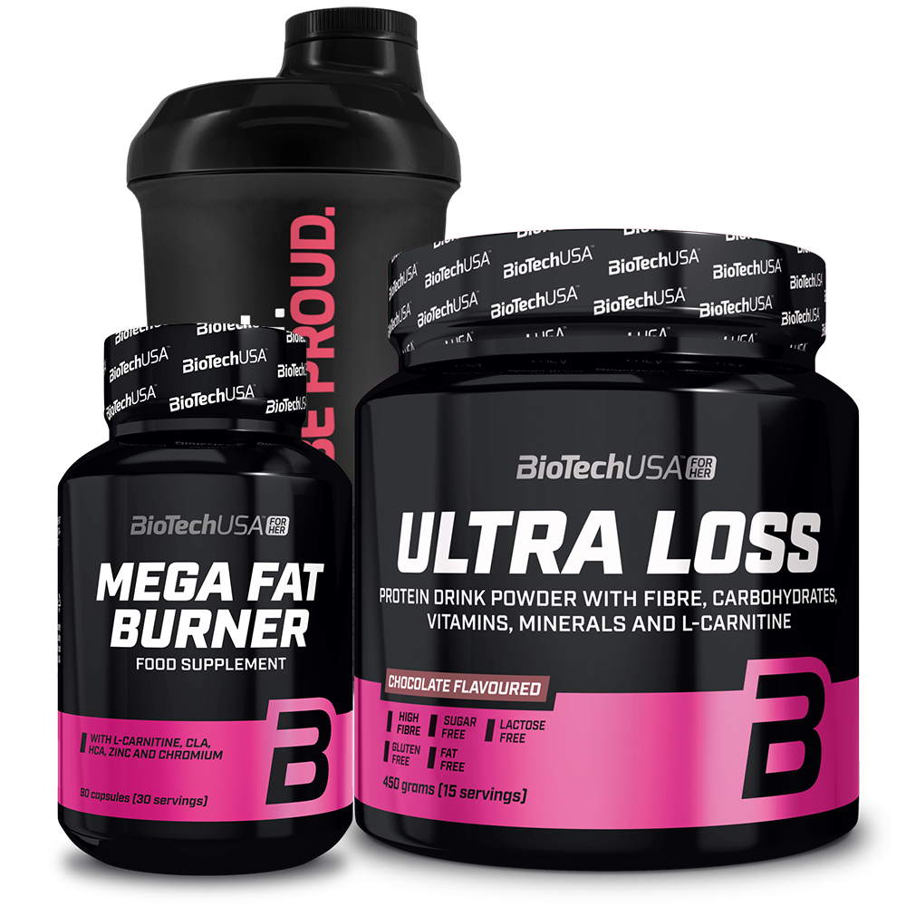 BioTech USA Ultra Loss + Mega Fat Burner + For Her Wave+ Nano Shaker szett