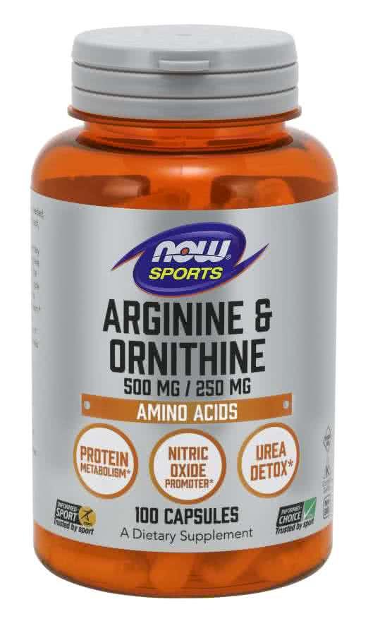Now Foods Arginine + Ornithine 500/250 100 kap.