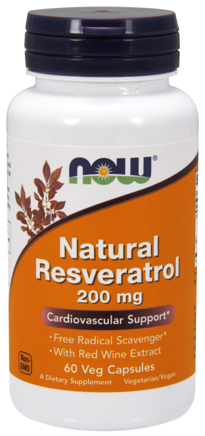 Now Foods Natural Resveratrol 200mg 60 kap.