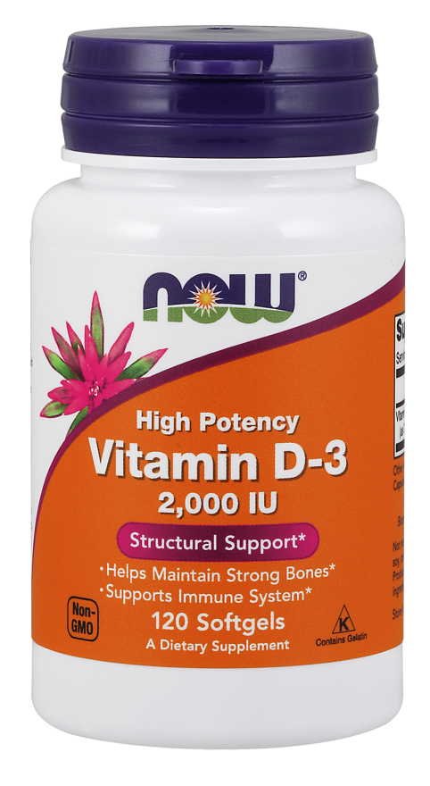 Now Foods Vitamin D3 2000IU 120 kap.