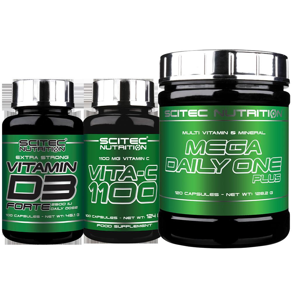 Scitec Nutrition Mega Daily One + C-1100 + D3 Forte szett