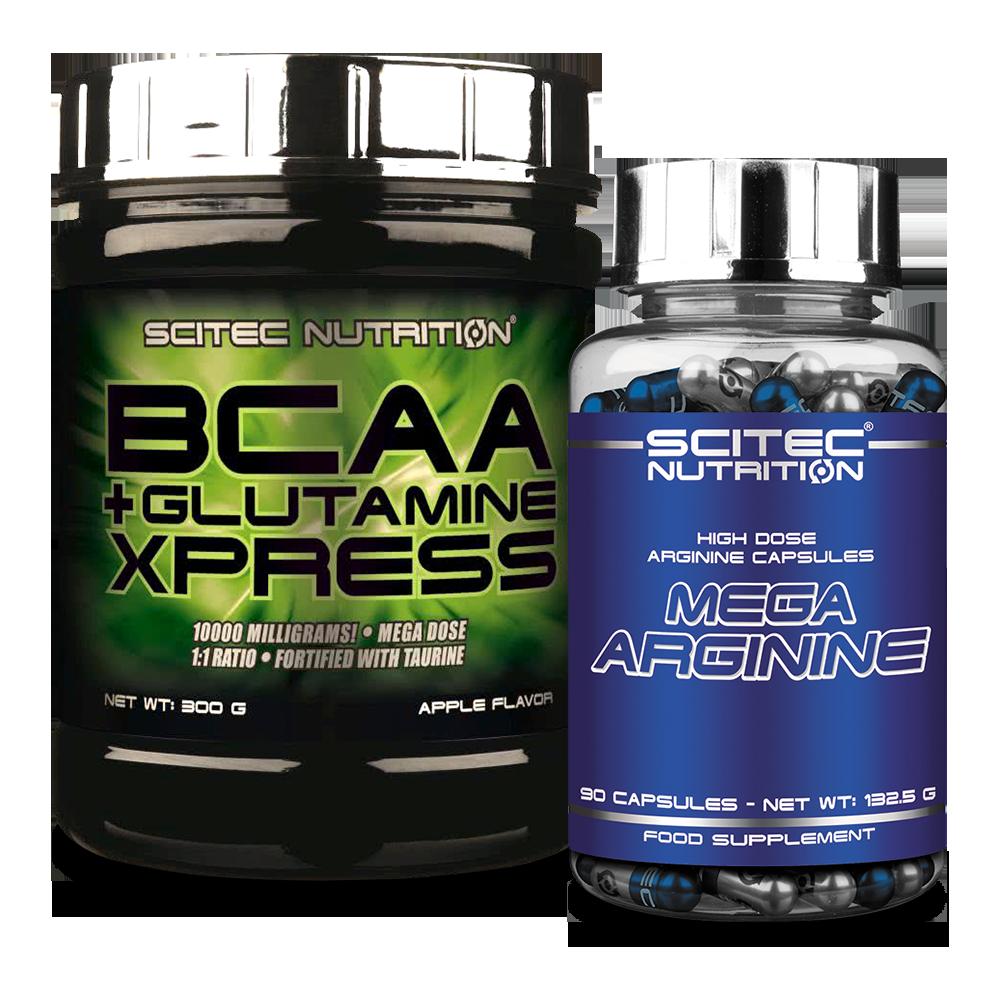 Scitec Nutrition BCAA + Glutamine Xpress + Mega Arginine szett