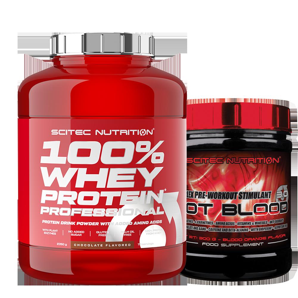 Scitec Nutrition 100% Whey Protein Professional + Hot Blood 3.0 szett