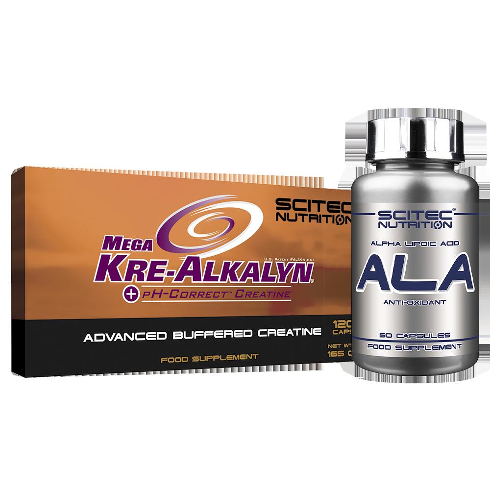Scitec Nutrition Mega Kre-Alkalyn + ALA szett
