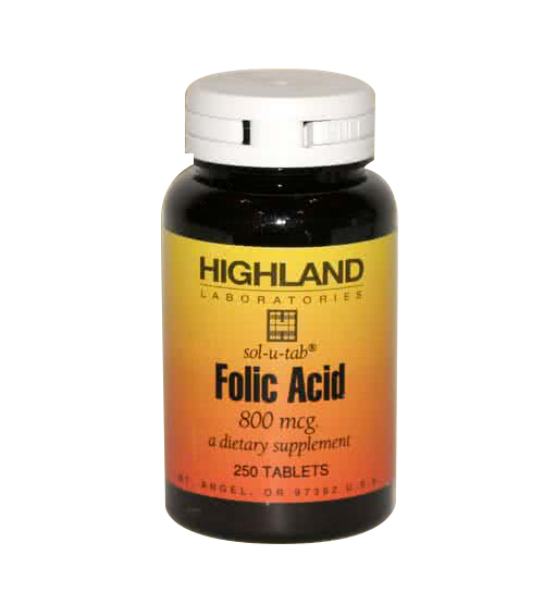 Highland Folic Acid 250 tab.