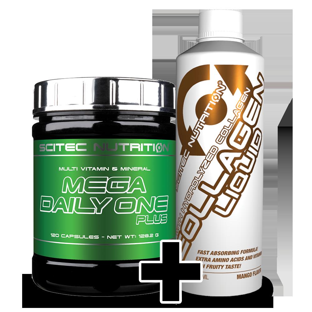 Scitec Nutrition Mega Daily One Plus + Collagen Liquid szett