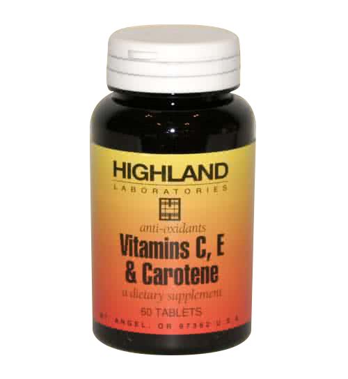 Highland Vitamins C, E and Carotene 60 tab.
